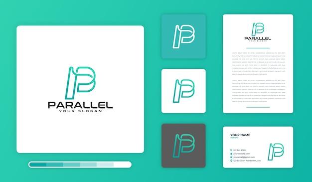 パラレルロゴデザインテンプレート Premiumベクター