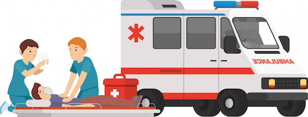 Paramedic are help the patient in when he sick Premium Vector