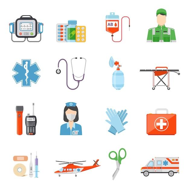 Paramedic flat colored decorative icons Premium Vector