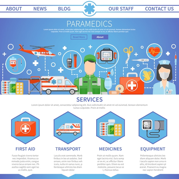 Paramedic one page template Free Vector