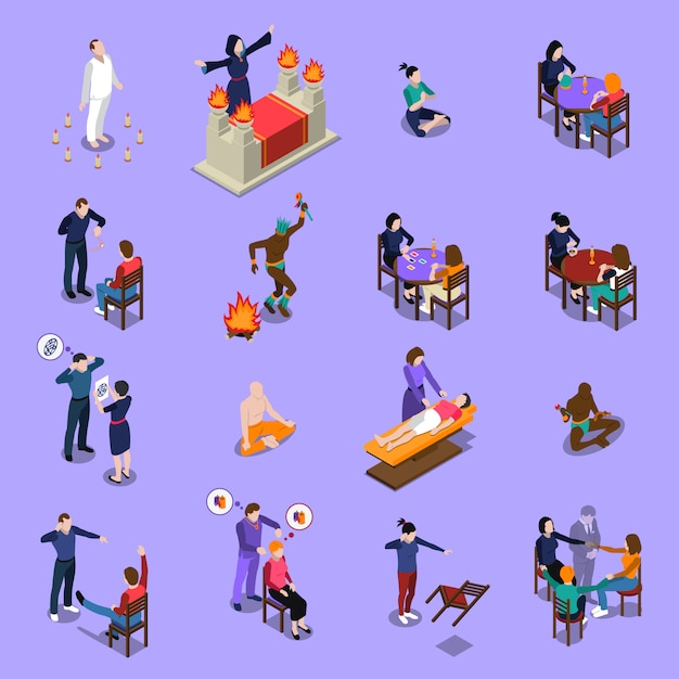 Paranormal abilities isometric set Free Vector