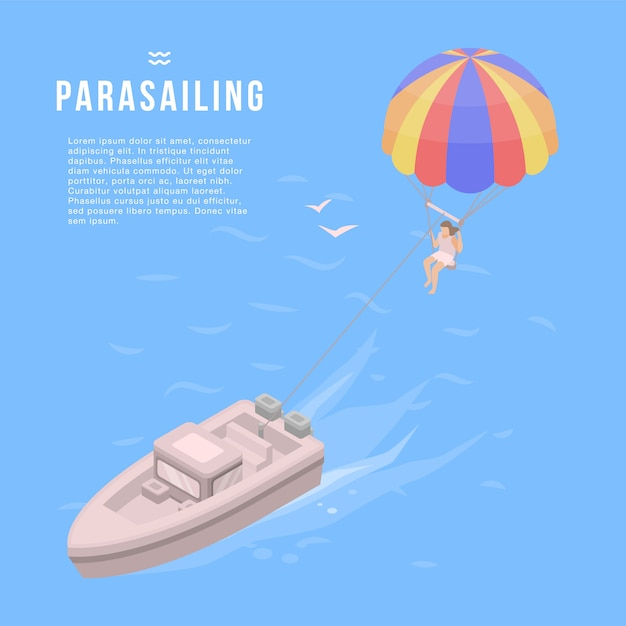 Parasailing banner. isometric illustration of parasailing vector banner for web design Premium Vector