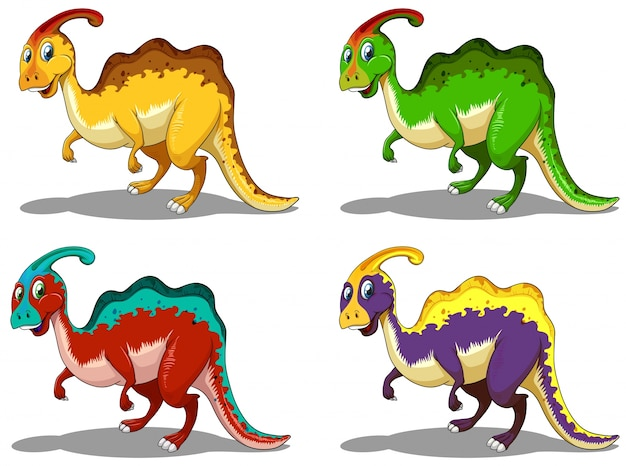 Parasaurolophus in four colors illustration Free Vector