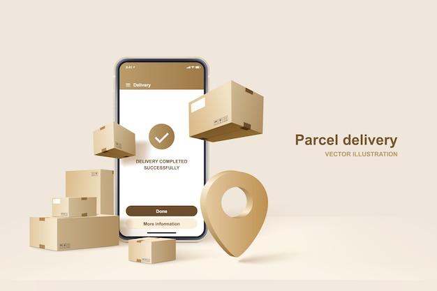 EPS ảnh điện thoại và các icon về chuyển phát bưu kiện, khái niệm về dịch vụ giao hàng nhanh