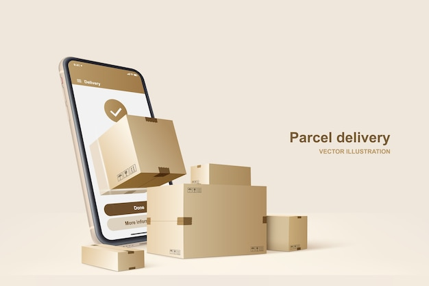 Parcel delivery. concept for fast delivery service,  illustration Premium Vector