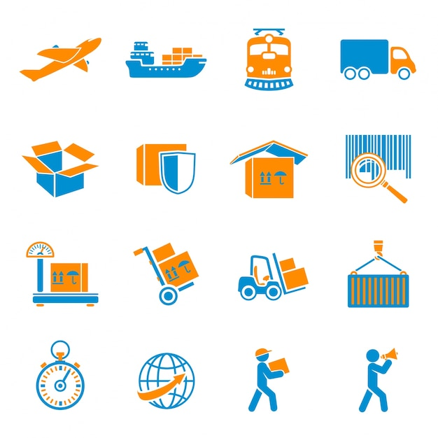 Parcel icons collection Free Vector