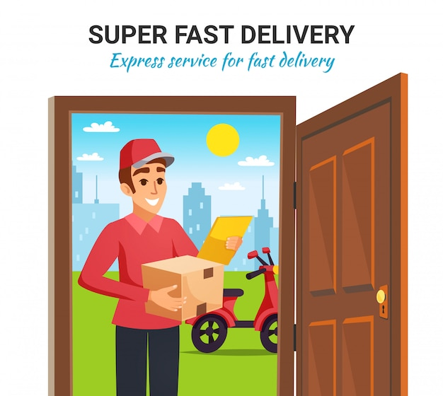 Parcel motorcycle courier delivery illustration Free Vector