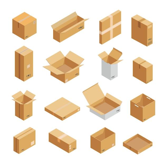Parcel packaging box icons set Premium Vector