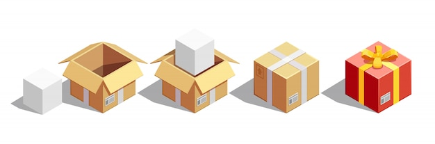 Parcel packaging isometric set Free Vector