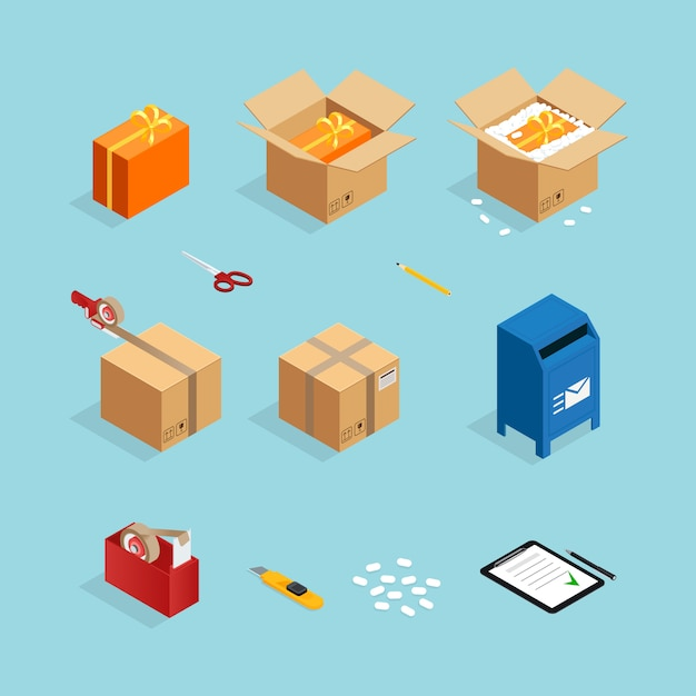 Parcel post packing set Free Vector