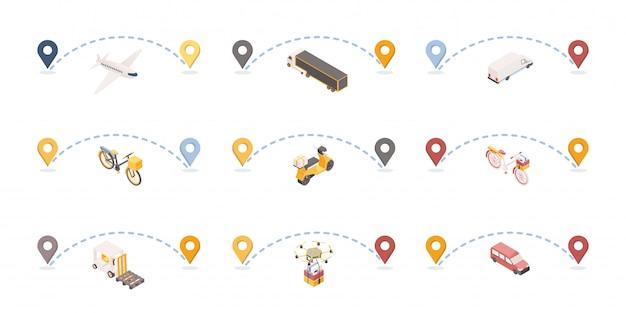 Изометрические иллюстрации набор маршрутов доставки посылок. Premium векторы