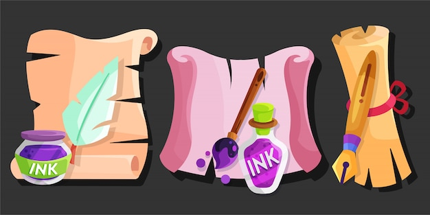 Parchment with ink and writing tools Premium Vector