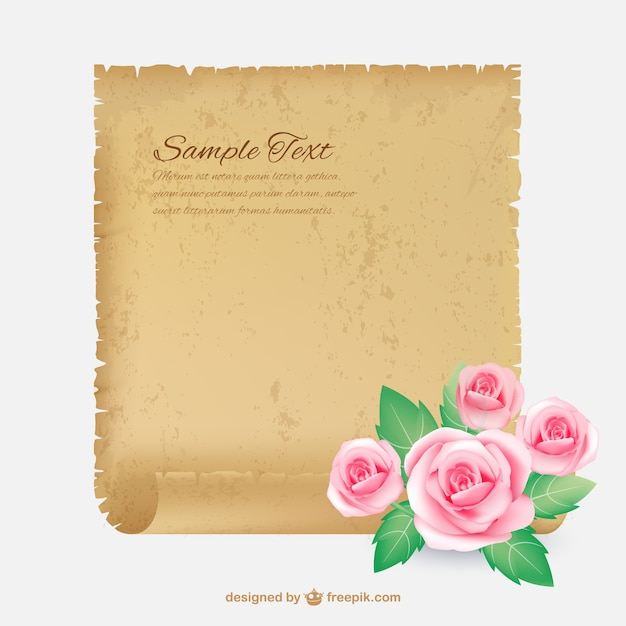 Parchment with roses Free Vector
