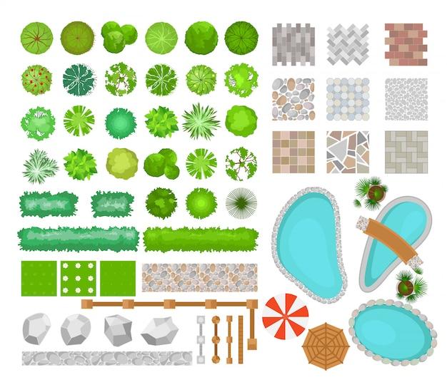 ランドスケープデザインのparck要素のベクトルイラストセット。木、植物、屋外用家具、建築要素、フェンスの平面図です。ベンチ、椅子、テーブル、フラットスタイルのパラソル。 Premiumベクター