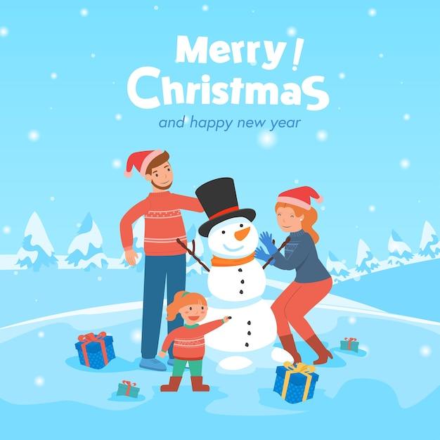 Родитель и ребенок зимой со снеговиком Бесплатные векторы