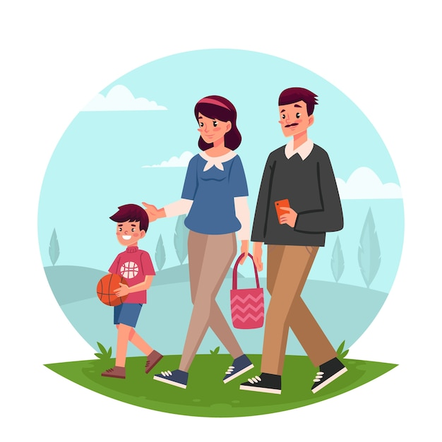 Parent and child walking in the park Free Vector