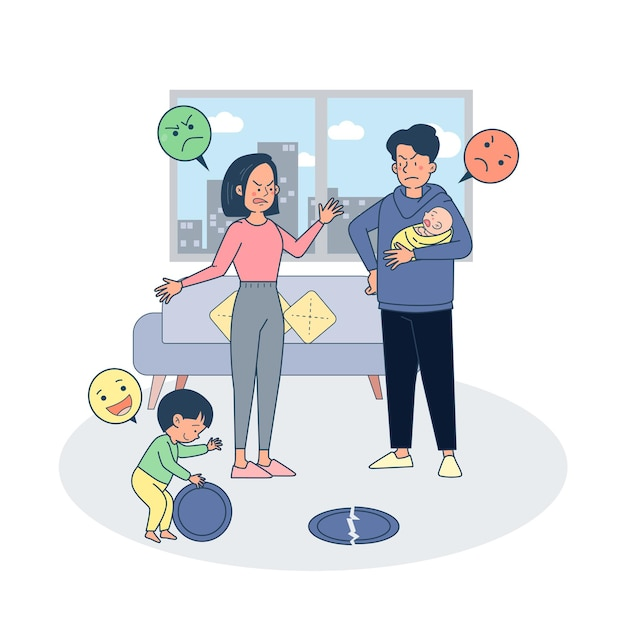 Parent fighting ague due to child broke plate during play. Free Vector