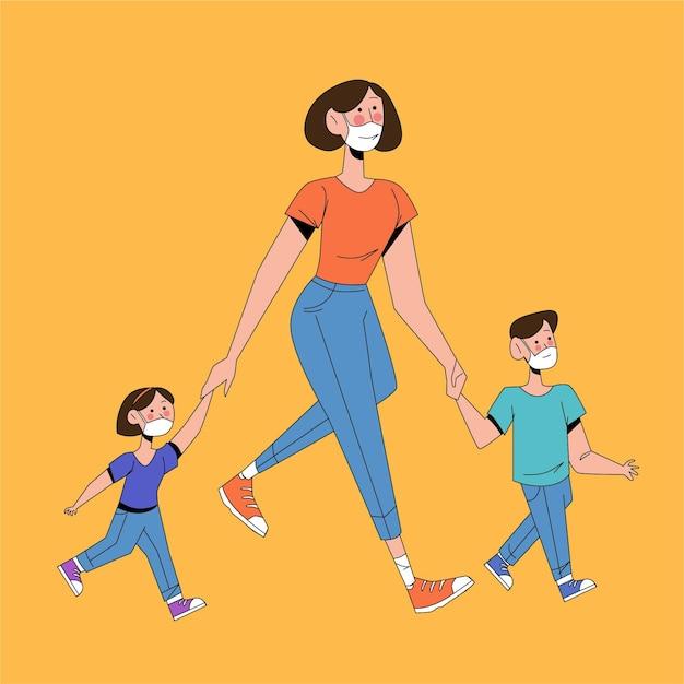 Родители гуляют дети на улице с медицинскими масками Бесплатные векторы