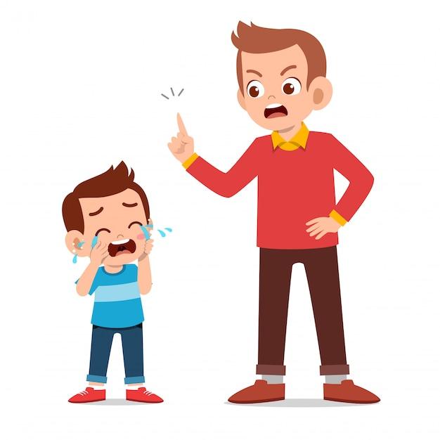 Parent with kid child cry Premium Vector
