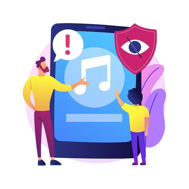ペアレンタルアドバイザリー音楽の抽象的な概念の図。ペアレンタルコントロール、露骨な成人向けコンテンツ、警告ラベル、pal通知、子供に適さない音楽。 無料ベクター
