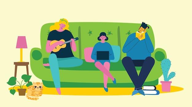 Родители и ребенок дома и используют цифровое устройство, читают книгу и играют на гитаре. Premium векторы
