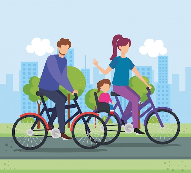 Parents in bicycle with daughter on the park Free Vector