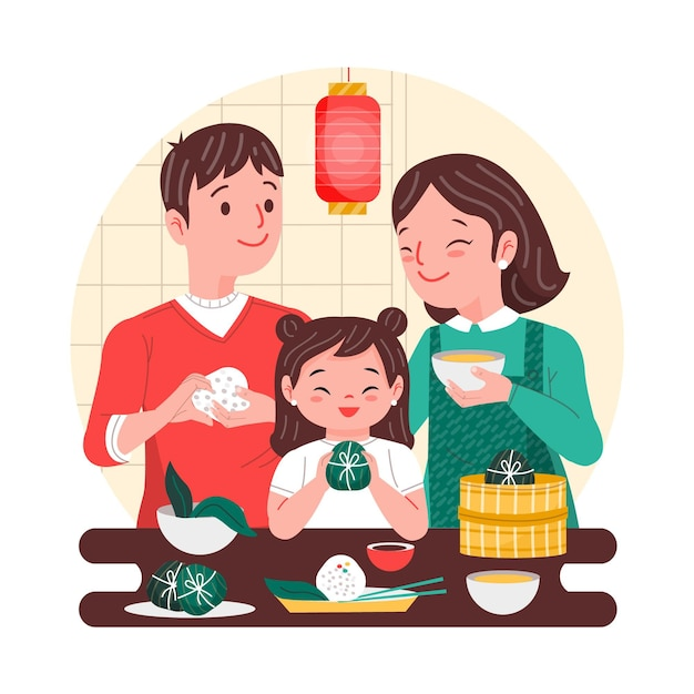 Parents and child making zongzi Free Vector