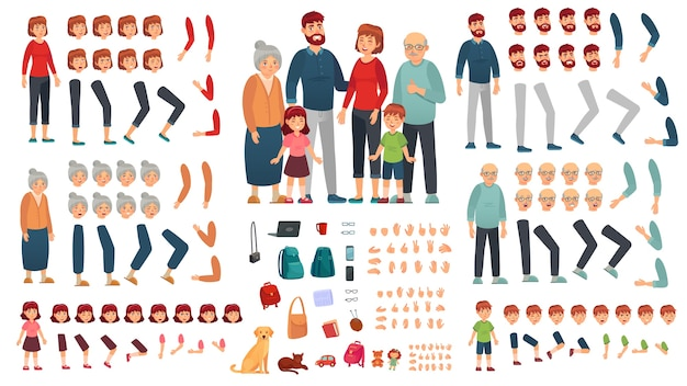 Parents, children and grandparents characters constructor Premium Vector