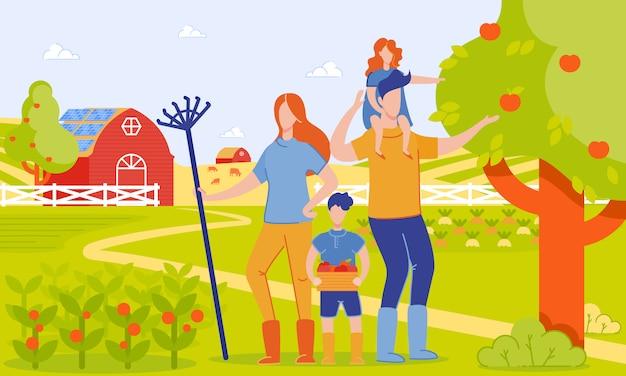 Parents and children harvest at farm, cartoon. Premium Vector