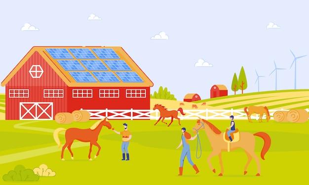 Premium Vector | Parents and children on horse farm cartoon flat.