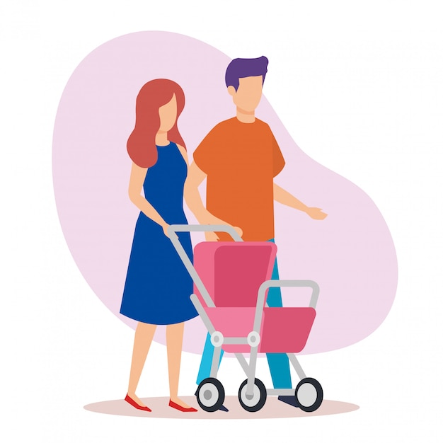 Parents couple with cart baby characters Free Vector