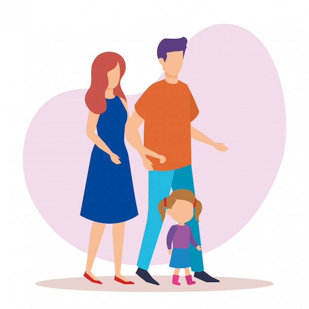 Parents couple with daughter characters Free Vector