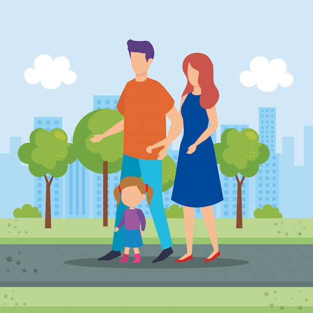 Parents couple with daughter in the park Free Vector