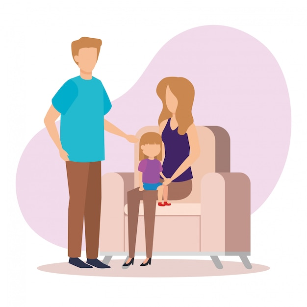 Parents couple with daughter in the sofa Free Vector