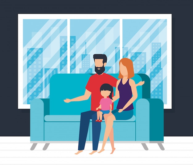 Parents couple with daughter waching tv Free Vector