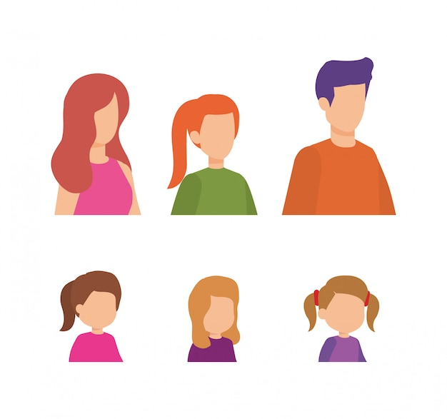 Parents couple with daughters characters Free Vector