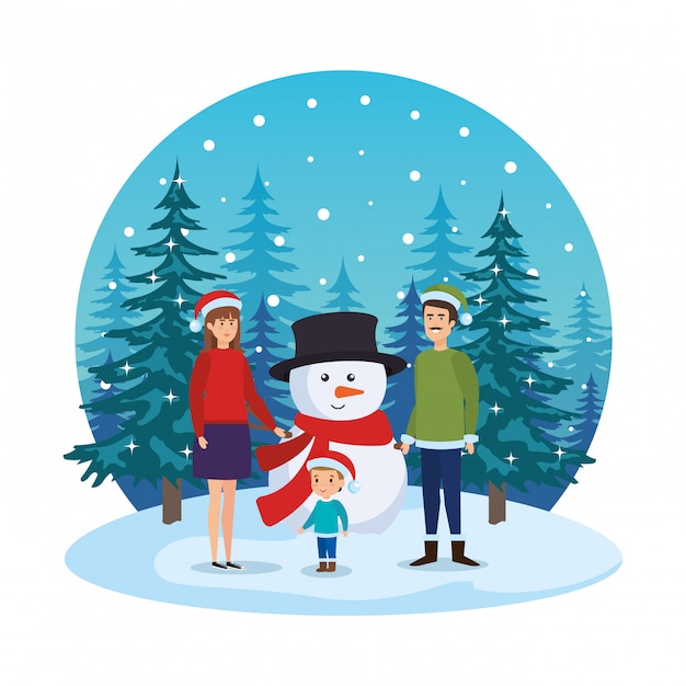 Parents couple with kids and snowman in snowscape Premium Vector