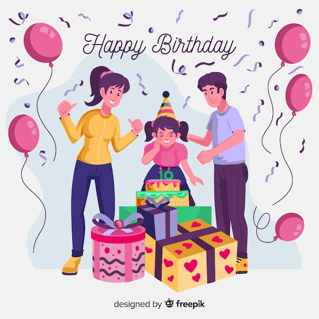 Parents and daughter birthday background Free Vector