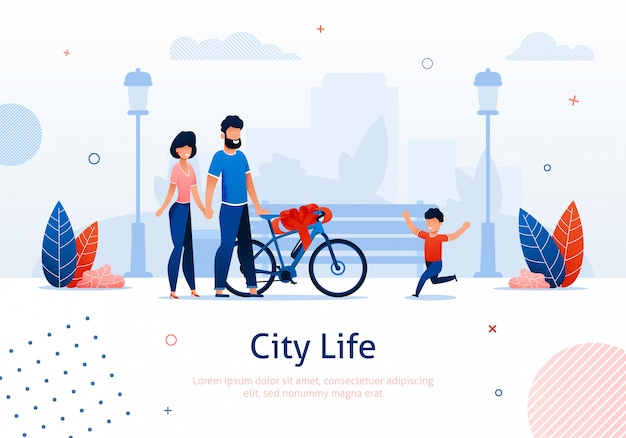 Parents giving bicycle with bow as present Premium Vector