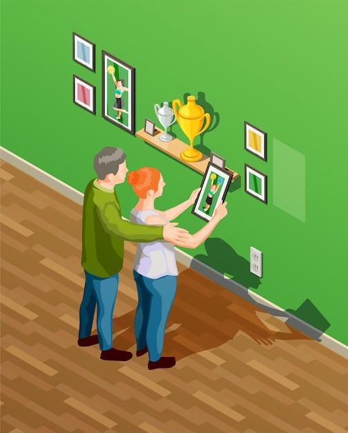 Parents isometric illustration Free Vector
