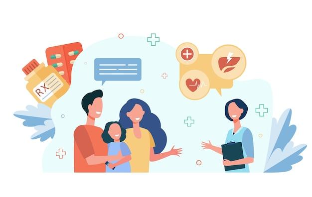 Genitori e bambino in visita pediatra. Vettore gratuito