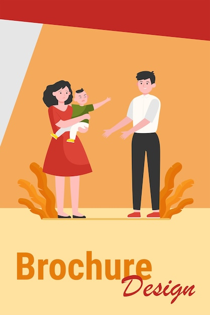 Parents soothing little child. sad mom giving crying son to smiling dad flat vector illustration. parenthood problems, stress concept for banner, website design or landing web page Free Vector