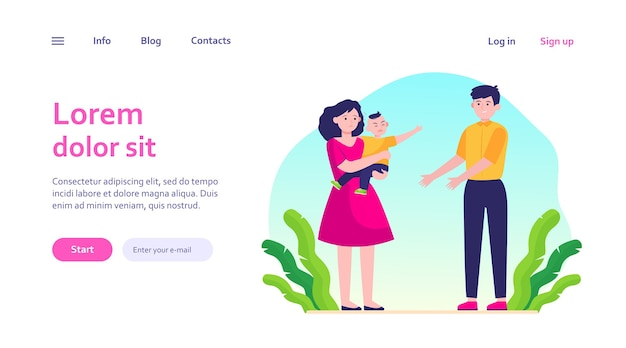 Parents soothing little child. sad mom giving crying son to smiling dad. parenthood problems, stress concept for website design or landing web page Free Vector