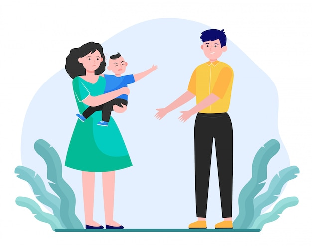 Parents soothing little child Free Vector