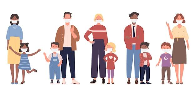 両親は子供と一緒に立って、顔の医療用マスクのイラストを身に着けています Premiumベクター