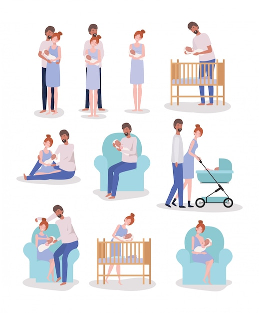 Parents taking care of newborn baby set activities Free Vector