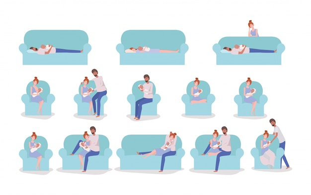 Parents taking care of newborn baby set in couch Free Vector
