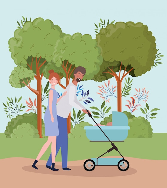 Parents taking care of newborn baby with cart in the park Free Vector