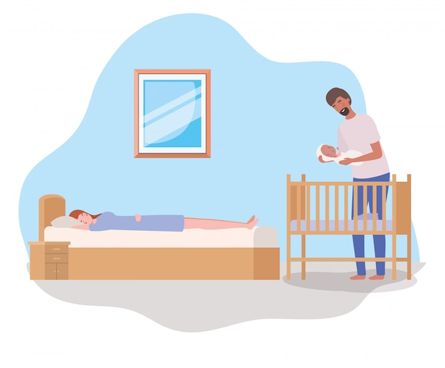 Parents taking care of newborn baby with cradle Free Vector