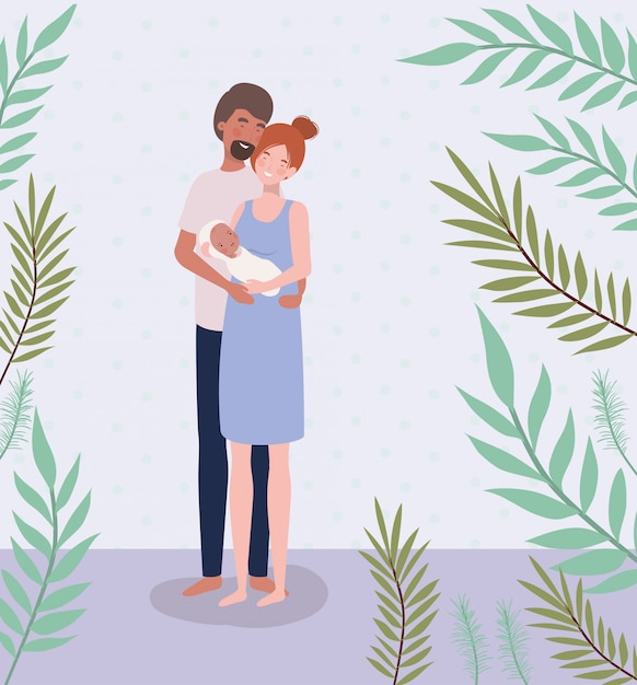 Parents taking care of newborn baby with leafs Free Vector